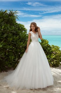 A-Line Floor-Length Scoop-Neck Sleeveless Illusion Tulle Dress With Beading And Lace