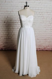 Sweetheart A-Line Chiffon Dress With Spaghetti Straps and Open Back