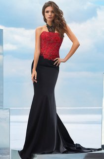 Mermaid Court Train Strapless Sleeveless Jersey Lace-up Dress