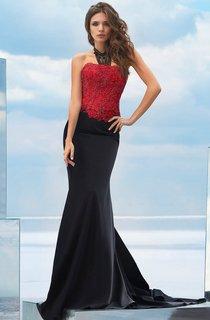 Mermaid Court Train Strapless Sleeveless Jersey Lace-up Dress