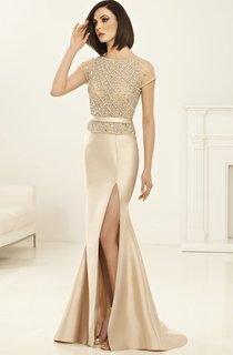 Sheath Floor-Length Scoop-Neck Short Sleeve Satin Beading Split Front Dress