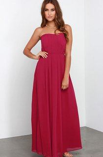 Elegant Chiffon Long Strapless A-Line Dress