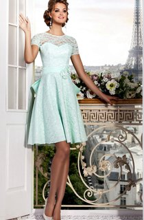 A-Line Short Bateau Short Sleeve Lace Flower(S) Bow(S) Lace-Up Dress