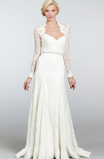 Demure Long Lace Dress With Detachable Long Sleeve Lace Bolero