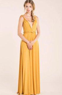 Deep-v Neck Backless A-line Jersey Long Dress With Sash