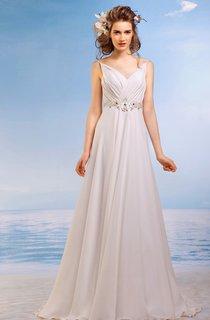 A-Line Long Spaghetti Sleeveless Lace-Up Chiffon Dress With Waist Jewellery
