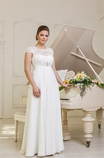 A-Line Long Jewel-Neck Cap-Sleeve Empire Corset-Back Chiffon Dress With Beading And Pleatings