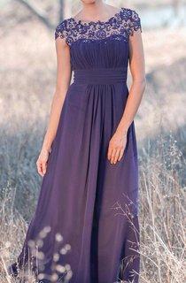Illusion Cap Sleeve Pleated A-line Chiffon Long Dress With Back Keyhole