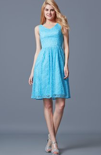 Glamorous Sleeveless Short A-line Lace Dress With Pleated