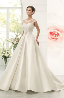 Jeweled Neck Cap Sleeve A-line Satin Wedding Dress With Lace Bodice