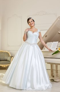 A-Line Maxi V-Neck Cap-Sleeve Lace-Up Satin Dress With Ruching And Beading