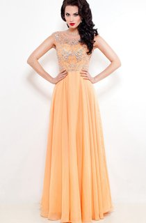 A-Line Floor-Length Jewel Short Sleeve Chiffon Pleats Beading Low-V Back Dress