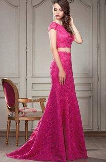 A-Line Floor-Length Off-The-Shoulder Short Sleeve Chiffon Ruffles Pleats Keyhole Dress