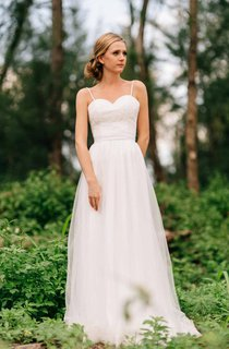 Spaghetti Straps Sweetheart Tulle Dress With Lace Bodice