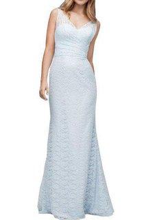 Illusion V-neck Sheath Lace Floor-length Bridesmaid Dress