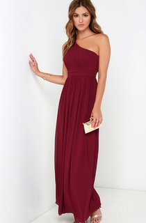 Long One-Shoulder Chiffon A-Line Unique Dress