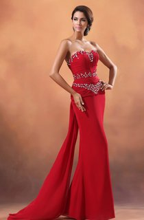 Sweetheart Sequined Neckline Chiffon Sheath Gown