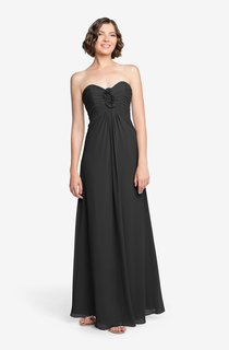 Feminine Strapless Ruched Floor-length Chiffon Dress with Empire Waist