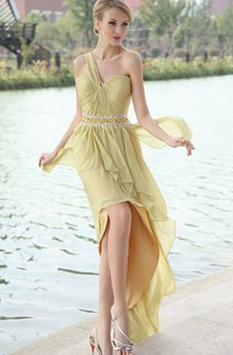 Chiffon High-Low One-Shoulder Dress With Beaded Waistband