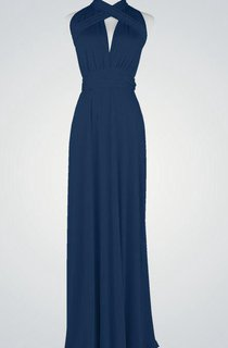 Halter A-line Pleated Jersey Long Dress With Criss-cross Back