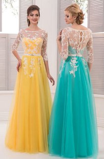 A-Line Jewel 3 Tulle Crystal Detailing Lace Illusion Dress