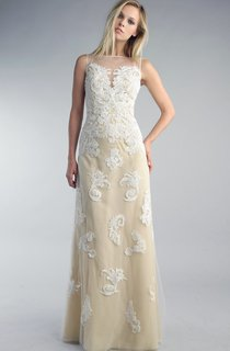 Sheath Floor-length High Neck Sleeveless Lace Low-V Back Dress