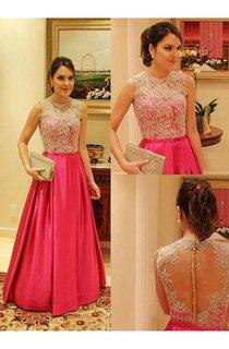 Bateau Elegant Lace Prom Dress A-line Aplliques Taffeta Womens Evening Gowns