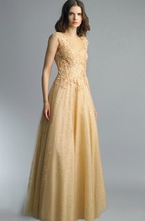 A-line Floor-length High Neck Short Sleeve Lace Illusion Dress