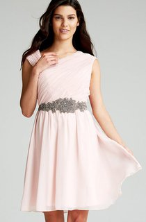 Chiffon Chic Asymmetric Neckline Dress With Sash