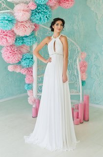 A-Line Long High-Neck Sleeveless Backless Chiffon Dress With Pleats And Beading