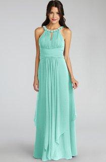 Long-Chiffon Jewel-Neck Unique Dress With Keyhole