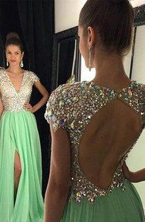 A-line Short Sleeves V-neck Chiffon Sequin Floor-Length Dresses