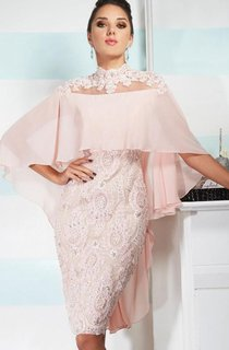 Illusion High Neck Sheath Knee Length Dresses with Wraps and Beaded Appliques