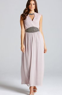 Chic Chiffon Long Dress With Front Keyhole