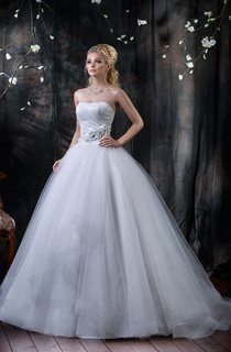 Ball Gown Long Strapless Sleeveless Corset-Back Tulle Dress With Draping And Tiers
