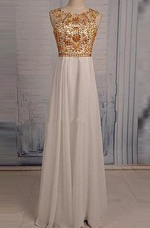 Floor-length Beading Keyhole Chiffon Dress