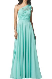 Illusion One Shoulder Chiffon Bridesmaid Dress with Flowers