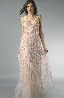 Sheath Floor-length V-neck Sleeveless Tulle Low-V Back Dress