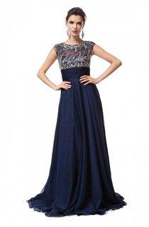 A-line Sleeveless Scoop Floor-Length Chiffon Beading Dresses