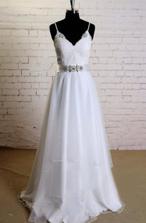 Sleeveless Spaghetti Straps A-Line Tulle Dress With V-Neck