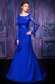 A-line Floor-length Jewel Long Sleeve Lace Keyhole Dress