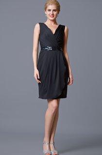 Enchanting Sleeveless V-neck Ruched Dress with Embellished Waistband