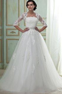 Fairy Appliqued A-Line Tulle Dress With Bolero and Beaded Waist