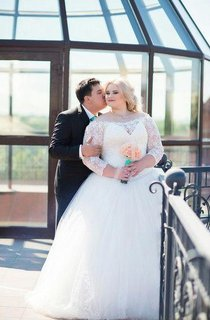 Off-The-Shoulder A-Line Long Sleeve Lace and Tulle Dress