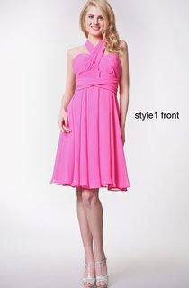 Convertible Sleeveless Halter Neck Pleated Short Chiffon Dress