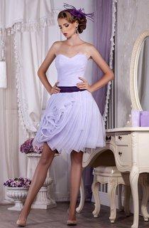 A-Line Short Sweetheart Sleeveless Tulle Ruffles Pleats Zipper Dress