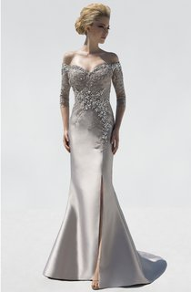 Mermaid Floor-Length Off-The-Shoulder 3-4-Sleeve Satin Split Front Crystal Detailing Dress