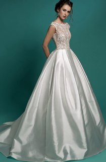 A-Line Floor-Length Bateau-Neck Cap-Sleeve Zipper Satin Dress With Appliques And Beading