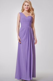 One Shoulder Ruched A-line Long Chiffon Dress