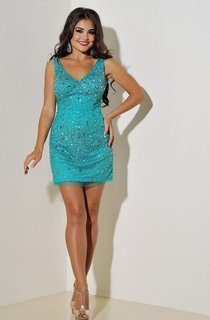 Sheath Short V-Neck Sleeveless Tulle Beading Zipper Dress